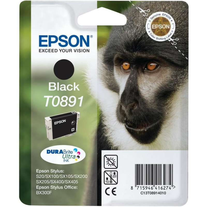 Консуматив - мастилница Epson T0891 Black Ink Cartridge - Retail Pack (untagged)