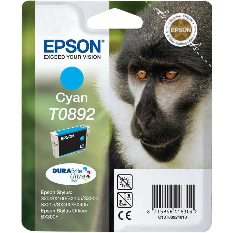 Консуматив - мастилница Epson T0892 Cyan, T0893 Magenta, T0894 Yellow Ink Cartridge - Retail Pack (untagged)
