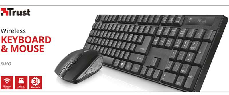 Клавиатура, TRUST XIMO Wireless Keyboard & Mouse BG Layout